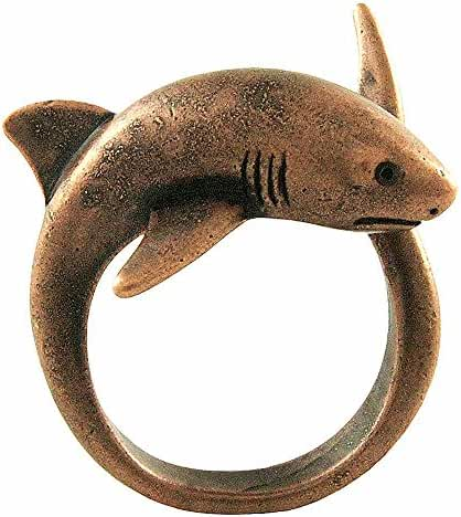 Enhanced Big Shark Adjustable Animal Wrap Ring Rose Gold Tone