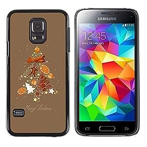FECELL CITY // Duro Aluminio Pegatina PC Caso decorativo Funda Carcasa de Protección para Samsung Galaxy S5 Mini, SM-G800, NOT S5 REGULAR! // Tree Christmas Spruce Brown Gingerbread