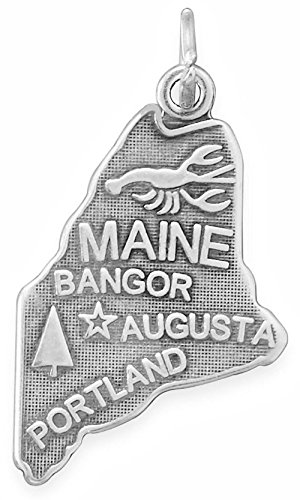 Oxidized Sterling Silver Charm, State of Maine, 1 inch