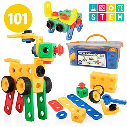 USA Toyz Boltz STEM Building Toys - 101 Pc Construction Set, Educational Toys for Kids with Engineering Blocks, Bolts, Wheels and Ratchet