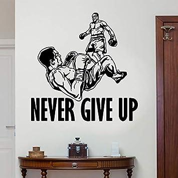 haotong11 Nunca te Rindas Boxeo Tatuajes de Pared Deportes Motivacional Cita Etiqueta de Vinilo Arte Inspirador Fight Club Gym Decor 57x58 cm: Amazon.es: Hogar
