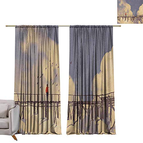 berrly Thermal Insulated Drapes Art,Man Standing on Unsafe Bridge Looking at Clouds Outdoor Depression Loneliness Art Print, Multicolor W84 x L96 Art Grommet Curtains for Girls Room