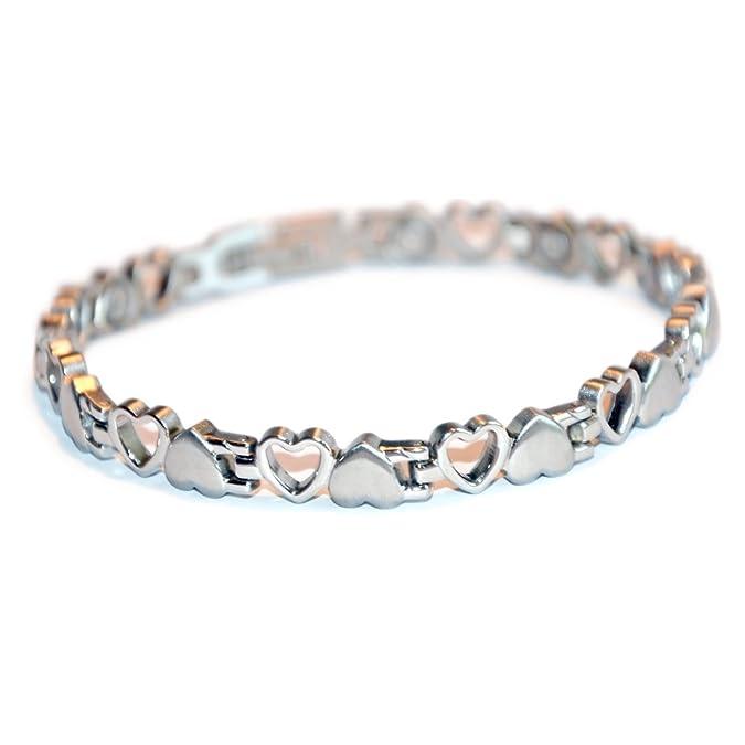 Elegantes Herz Design Tennis Magnetarmband silber poliert Energetix-4you 8232 Coracao Heart Coeur S-XL