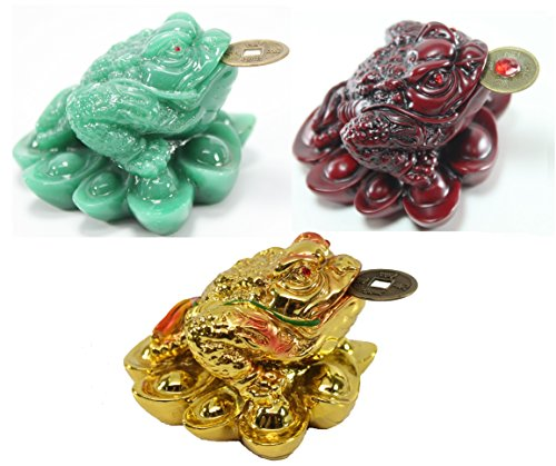 1 Red 1 Green 1 Gold Fortune Coin Money Toad/ Frog /Chan Chu~ Feng Shui Chinese Charm of Prosperity Decoration Gift US Seller ()