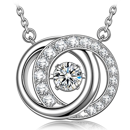 (Mothers Day Necklace Gifts Necklace for women 925 Sterling Silver Necklace for Mom Circle Necklace Pendant Swarovski necklace Dancing Diamond Necklace Jewelry for women jewelry)