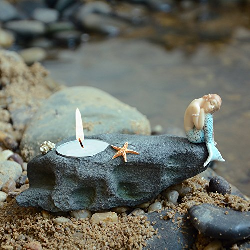 Top Collection Miniature Fairy Garden Terrarium Statue, Mermaid Resting on Stone T-Light Candle Holder