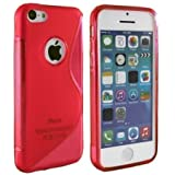 GADGET BOXX APPLE iPHONE 5/5S S-LINE SILICONE GEL IN RED COVER CASE AND SCREEN PROTECTOR
