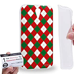 Case88 [HTC Desire 620] Gel TPU Carcasa/Funda & Tarjeta de garantía - Art Trend Mix Design Argyle Red & Green Combination Art1229