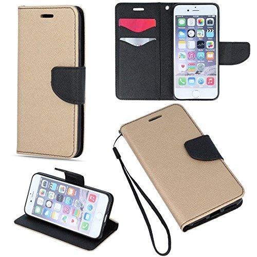 """BOOK CASE FANCY gold / schwarz für Apple iPhone 7 Plus 5.5"""" Cover Handy Tasche Flipcase Etui Buchform Kunststoff TPU Halterung für Kreditkarten"""