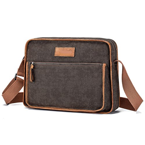 Canvas Retro Messenger Bag Spalla Degli Uomini Sacchetto Universitario Borsa Borsa Affari Ipad Borsa Da Viaggio Zaino Brown,Brown-OneSize