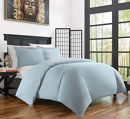 Zen Home Luxury Duvet Cover Set - 1500 Series Brushed Microfiber w/ Bamboo Blend Treatment Duvet Cover Set - Eco-friendly, Hypoallergenic and Wrinkle Resistant - 3-Piece - King/Cal King - Sky Blue (Sky Duvet)