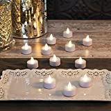 Set of 12 White Flickering Neutral White LED Battery Operated Tea Lights with Remote (Batteries Included)