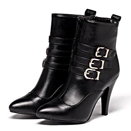 ... COOLCEPT Damen Western Stiletto Zipper Kleid Stiefel Mit Riemen  Schnalle Black ... bd51ca5626