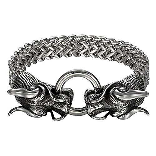 JahyShow Mens Gothic Biker Stainless Steel Double Dragon Head Link Chain Bangle Bracelet, 8.7