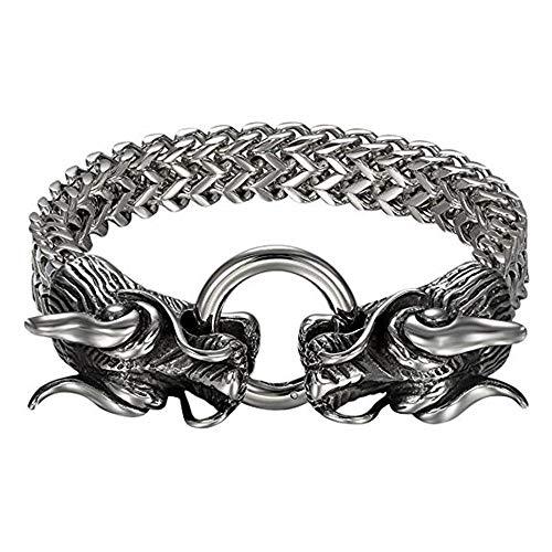 Dragon Bracelet Double - JahyShow Mens Gothic Biker Stainless Steel Double Dragon Head Link Chain Bangle Bracelet, 8.7