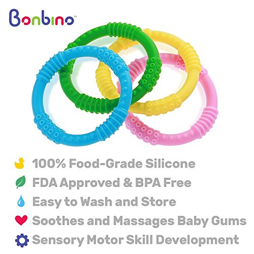 Teether Rings - (4 Pack) Silicone Sensory Teething Rings - Fun, Colorful and BPA-Free Teething Toys - Soothing Pain Relief and Drool Proof Teether Ring (Unisex) by Bonbino (Image #5)