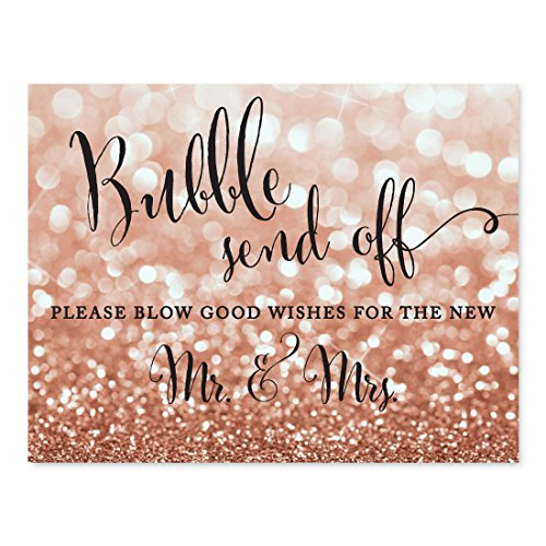 Andaz Press Wedding Party Signs, Glitzy Rose Gold Glitter, 8.5x11-inch, Bubble Send Off Please Blow Good Wishes for the New Mr. & Mrs. Sign, 1-Pack, Bokeh Colored Party Supplies