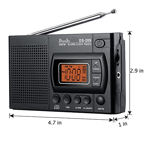 DreamSky Portable AM/FM Radio Alarm Clock, Clear Loudspeaker, Earphone Jack, 12 /24H Time Display with Backlight, Ascending Alarms, Battery Operated, Sleep Timer AA Battery Included.