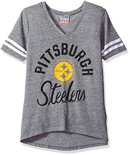 NFL Pittsburgh Steelers Women's Gameday Triblend Fashion Short Sleeve Tee, X-Large, Steel