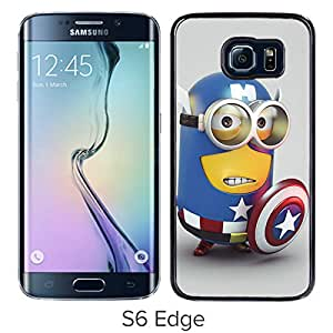 Despicable Me with Captain America 18 Black Abstract Personalized Picture Samsung Galaxy S6 Edge Case