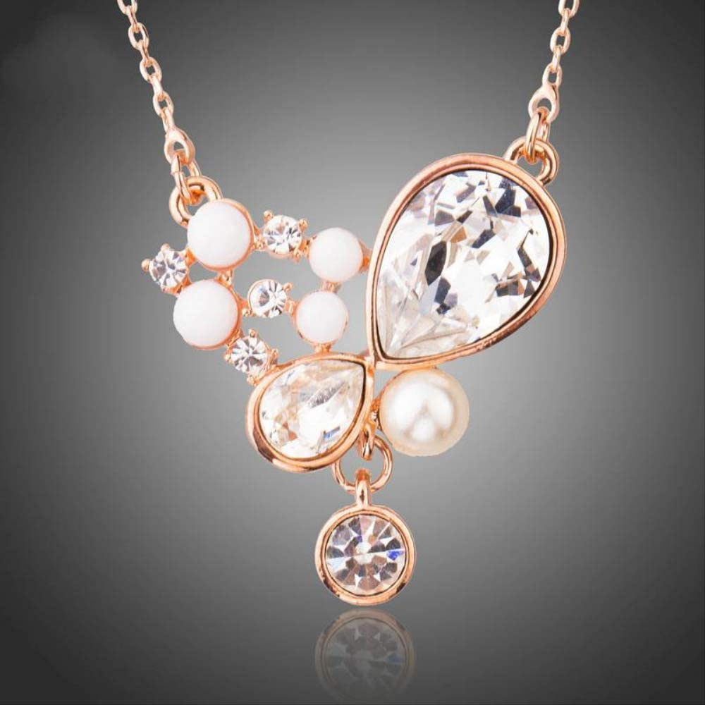 WDXDP Collar Romántico Color Rosa Dorado Cristales Claros con Resina Blanca Collares Pendientes para Las Mujeres Simulado Joyería de Perlas