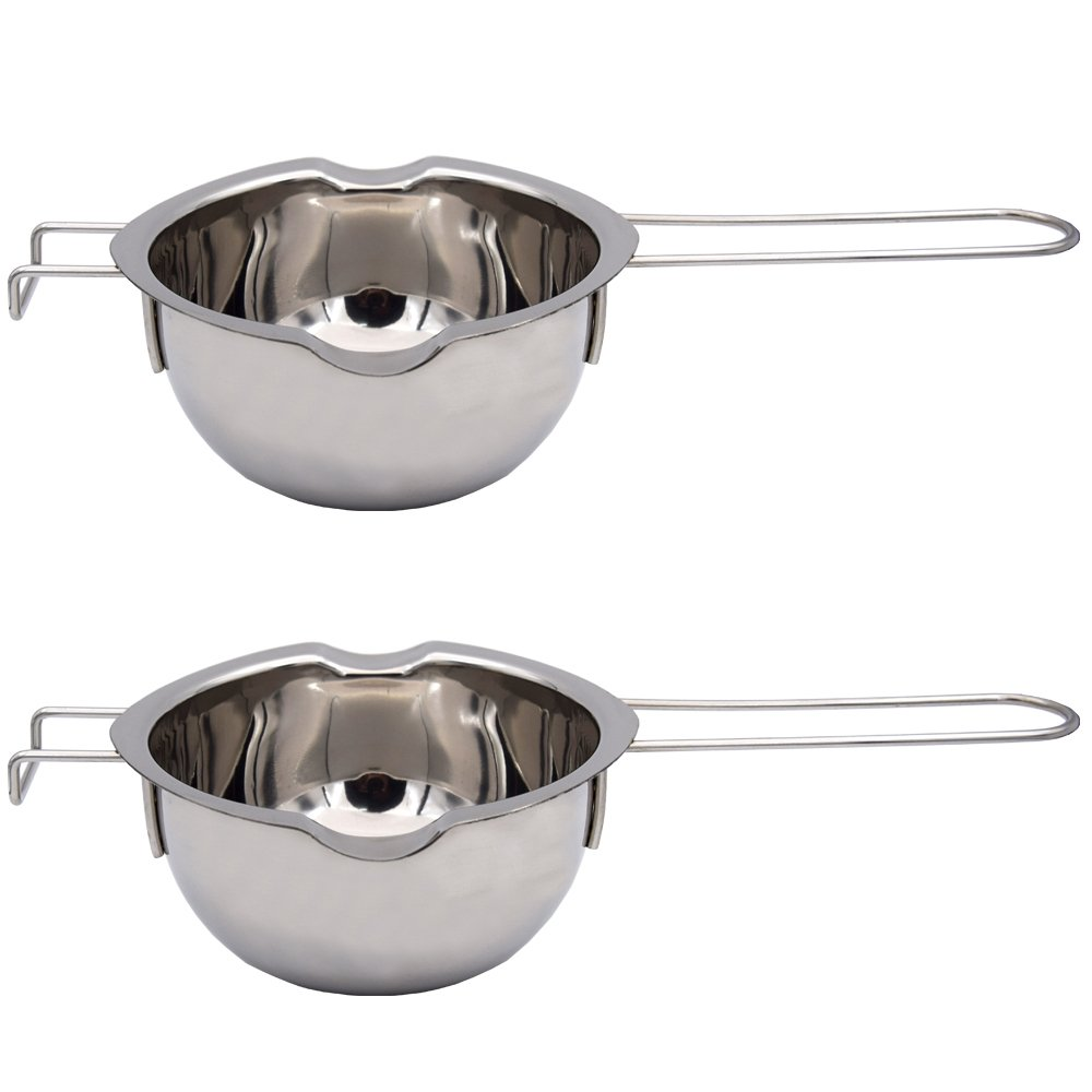 Buthneil 18/8 Stainless Steel Universal Melting Pot, Double Boiler Insert, Double Spouts for Butter Chocolate Cheese Caramel, 2 cups capacity Boiler- Set of 2