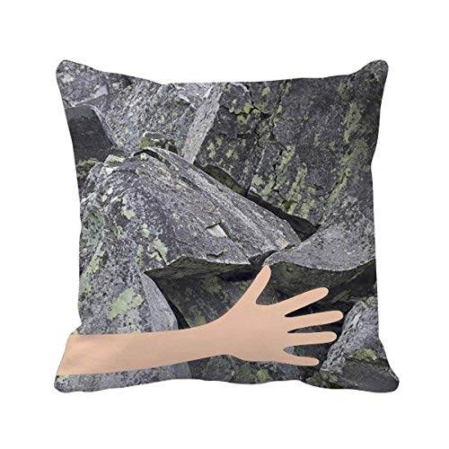 - Asefcnxkjii Dark Stone Pieces Wallpaper Crackles Moss Hand Throw Pillow Square Cover