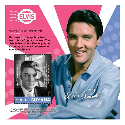- Guyana Elvis - His Life in Stamps Train Ride to Memphis - Collector's Souvenir Sheet Stamp