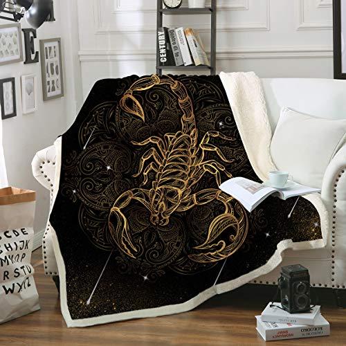 (Sleepwish Scorpio Blanket Throw Blanket Golden Scorpion Insect Blanket Mens Boys Black and Gold Reversible Sherpa Fleece Blanket (50