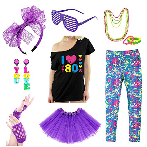 Icevog Womens 80s Costume Set Fancy Disco Party Outfit Printed Leggings Top Tutu Skirt Neon Earrings Necklace Bracelet ()