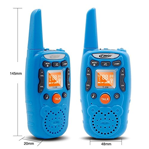 Eoncore T358 Walkie Talkies for Kids Two Ways Radio Toy Long Range 22 Channels 10 Call Tone Build-in Flashlight Blue by Eoncore (Image #2)