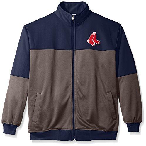 MLB Boston Red Sox Men's Poly Fleece Yoked Track Jacket with Wordmark Logo, 5X, Navy/Gray (Red Sox Red Boston Jacket)