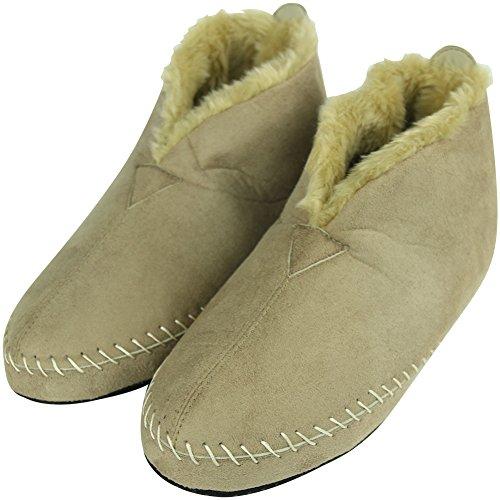 Booties Fleece Women's House Forfoot D Lining Indoor Soft Suede Slipper Slip Beige Men's Non Unisex AXAq5PxSB