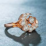 Fxbar Luxury Rose Gold Moon Stars Rings For Women