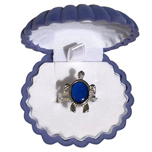Mermaid Girls Turtle Mood Ring with Velvet Shell Ring Box (Mood Rings Blue)