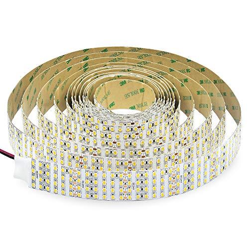 Super Bright White LED Strip - 2835SMD High CRI 93 Quad Row Flexible LED Strip Lights - 24VDC IP20 17,650 lm/Roll for LED Retail Shops, Videography Lighting (5m/16.4' Daylight White)