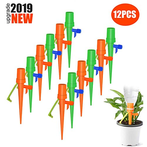 SERAIN Self Watering Spikes, Plant Watering Device Automatic Watering System Drip Irrigation Emitters Kit with Slow Release Control Valve Switch, for Vacation Business Travel (12 Packs)