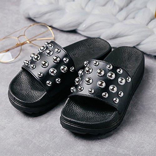 Star Color Coreana Remache Negro Versión Chancletas Tamaño Moda Colores Beads TINGTING Sandalia Blanco Bottom 36 Zapatillas Muffin Impermeable Tamaños Disponibles 5 Pendiente 3 4B4fSIc