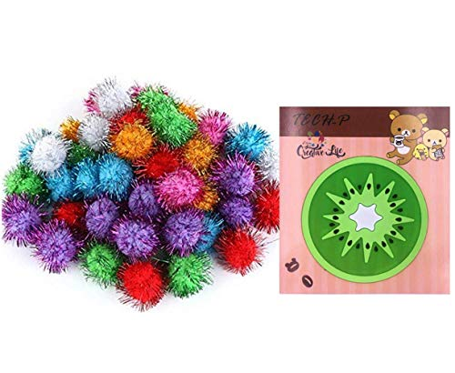 TECH-P® Arts Craft Pom Poms Glitter Poms Sparkle Balls- Assorted Color (1.5 Inch with Glitter Tinsel- 100 Pack) With1 PCS TECH-P Coaster