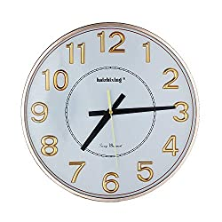 haizhixing Wall Clock Battery Operated Large Number Wall Clock, 13 Silent Non-Ticking Quartz Decorative Wall Clock, Modern Style Good for Living Room & Home & Office (Golden)