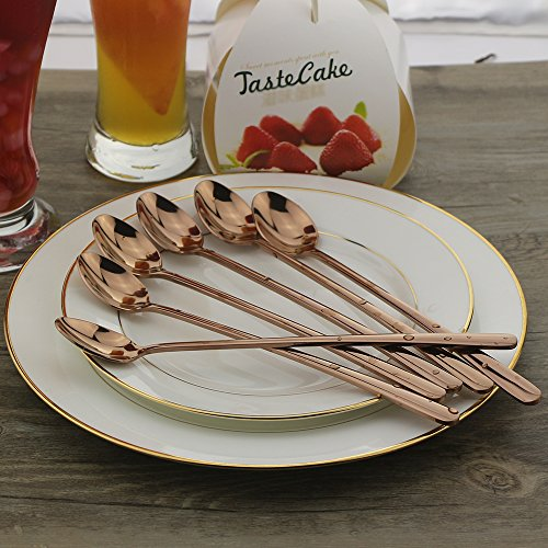 Long Handle Spoon, 9-inch Shake Spoon, DEALIGHT Rose Gold Stainless Steel Iced Teaspoon for Mixing, Cocktail Stirring, Tea, Coffee, Milkshake, Cold Drink, Set of 6 (Heavy Duty) by Dealight (Image #1)