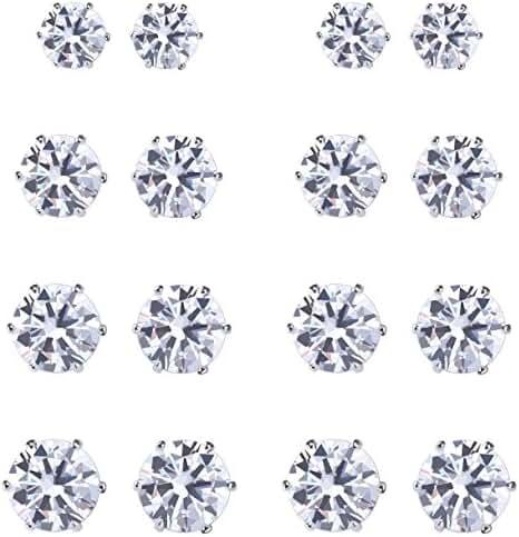 Womens 8 Pairs Stainless Steel Cubic Zirconia Stud Earrings Pierced Round 3-8mm