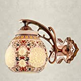 Ceramic Bedroom Bedside Walllamp Stairs Aisle Retro IronArt Wall Lamp E27 Light Source ( Color : A )