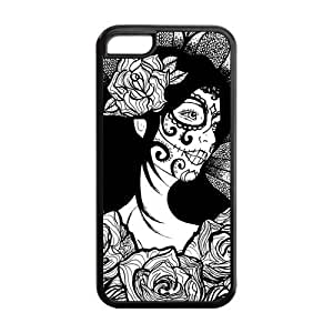 LJF phone case LeonardCustom Protective Hard Gel Silicon Rubber Cover Case for ipod touch 4 , Day of the Dead Skull