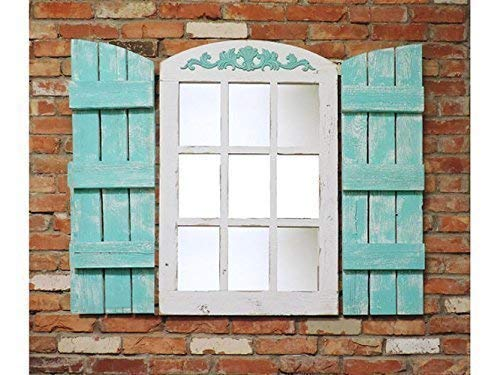 Rustic Farmhouse Arched Top Window Style Mirror with Panes, Reclaimed Decorative Wooden Living Room, Hallway, Over mantle, Wall, 23.5 X36.5 Inches (Shutters Sold Separately) Reclaimed Wood AllBarnWood