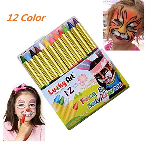 Beautymei Face Paint Body Painting Crayon Masquerade Rainbow Pigment - Halloween Cosplay Makeup Set for kids and Adults, 12 Colors - (Awesome Halloween Face Makeup)