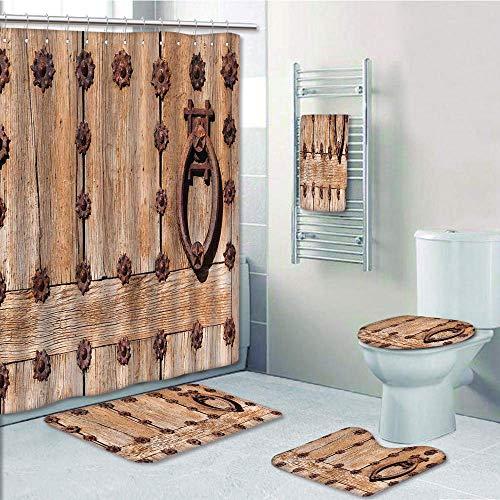 (Bathroom Fashion 5 Piece Set shower curtain 3d print,Rustic,Spanish Entrance of Rusty Medieval Style Handlers Archway Facade Historical Image Decorative,Pale Brown,Bath Mat,Bathroom Carpet Rug,Non-Sli)