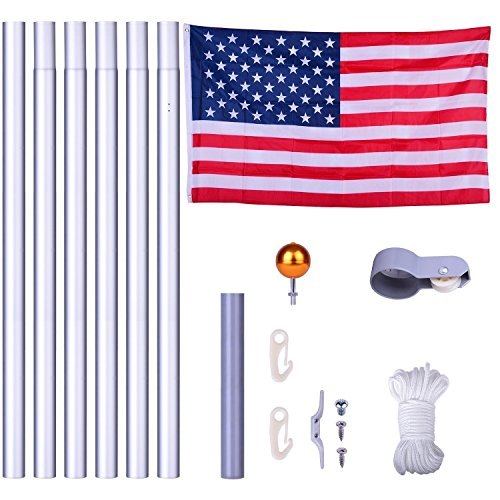 S&Cortile 20ft Flagpole Kit Aluminum 3'x5' US American Flag with Pole Gold Ball Set Sectional No Tangle Spinning Fly Top Finial in Ground Hardware