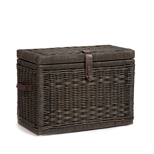 The Basket Lady Wicker Storage Trunk, Medium, Antique Walnut Brown (Wicker Storage Chests And Trunks)