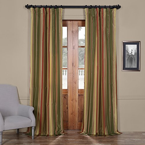 Half Price Drapes PTSCH-52012-96 Faux Silk Taffeta Stripe Curtain, Mirage